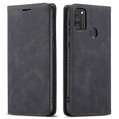 Handytasche Stand Schutzhülle Flip Leder Hülle für Samsung Galaxy M30s Schwarz