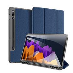 Handytasche Stand Schutzhülle Flip Leder Hülle für Samsung Galaxy Tab S7 Plus 12.4 Wi-Fi SM-T970 Blau