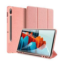 Handytasche Stand Schutzhülle Flip Leder Hülle für Samsung Galaxy Tab S7 Plus 12.4 Wi-Fi SM-T970 Rosa