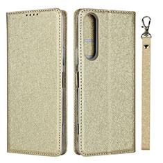 Handytasche Stand Schutzhülle Flip Leder Hülle für Sony Xperia 1 II Gold