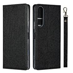 Handytasche Stand Schutzhülle Flip Leder Hülle für Sony Xperia 1 II Schwarz
