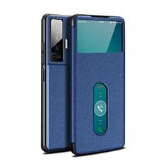 Handytasche Stand Schutzhülle Flip Leder Hülle für Vivo X50 5G Blau