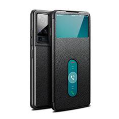 Handytasche Stand Schutzhülle Flip Leder Hülle für Vivo X50 Pro 5G Schwarz
