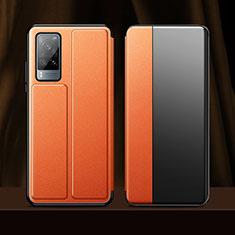 Handytasche Stand Schutzhülle Flip Leder Hülle für Vivo X60 5G Orange