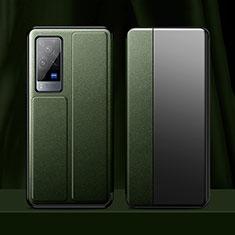 Handytasche Stand Schutzhülle Flip Leder Hülle für Vivo X60 Pro 5G Nachtgrün