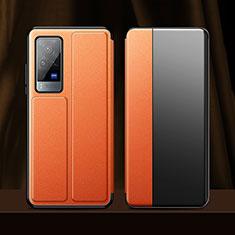 Handytasche Stand Schutzhülle Flip Leder Hülle für Vivo X60 Pro 5G Orange