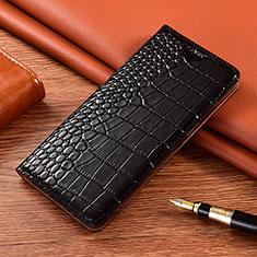 Handytasche Stand Schutzhülle Flip Leder Hülle L01 für Motorola Moto E7 Plus Schwarz