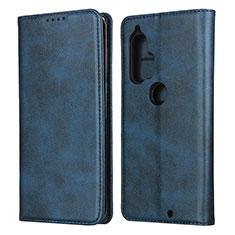 Handytasche Stand Schutzhülle Flip Leder Hülle L01 für Motorola Moto Edge Plus Blau