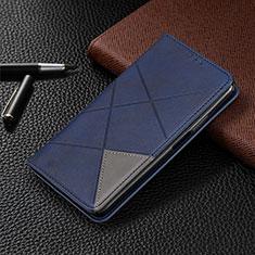 Handytasche Stand Schutzhülle Flip Leder Hülle L01 für Motorola Moto G8 Plus Blau