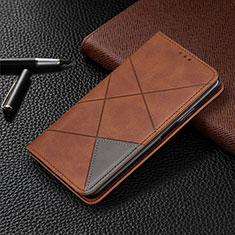 Handytasche Stand Schutzhülle Flip Leder Hülle L01 für Motorola Moto G8 Plus Braun