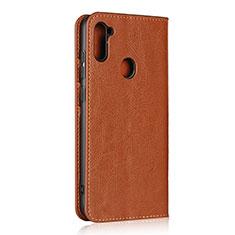 Handytasche Stand Schutzhülle Flip Leder Hülle L01 für Samsung Galaxy A11 Hellbraun