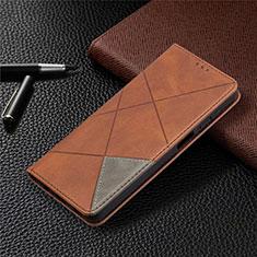Handytasche Stand Schutzhülle Flip Leder Hülle L01 für Samsung Galaxy A12 Braun