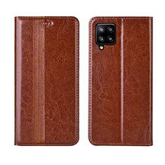 Handytasche Stand Schutzhülle Flip Leder Hülle L01 für Samsung Galaxy A42 5G Hellbraun