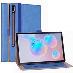 Handytasche Stand Schutzhülle Flip Leder Hülle L01 für Samsung Galaxy Tab S6 10.5 SM-T860 Hellblau