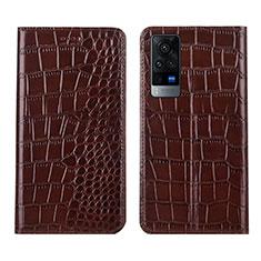 Handytasche Stand Schutzhülle Flip Leder Hülle L01 für Vivo X60 5G Braun