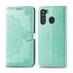 Handytasche Stand Schutzhülle Flip Leder Hülle L02 für Samsung Galaxy A21 Minzgrün