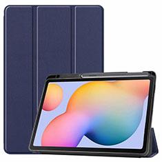 Handytasche Stand Schutzhülle Flip Leder Hülle L02 für Samsung Galaxy Tab S6 Lite 10.4 SM-P610 Blau