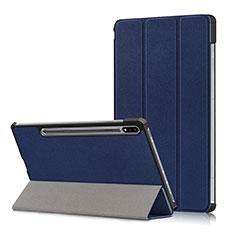 Handytasche Stand Schutzhülle Flip Leder Hülle L02 für Samsung Galaxy Tab S7 Plus 12.4 Wi-Fi SM-T970 Blau