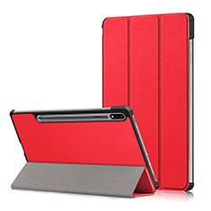 Handytasche Stand Schutzhülle Flip Leder Hülle L02 für Samsung Galaxy Tab S7 Plus 12.4 Wi-Fi SM-T970 Rot