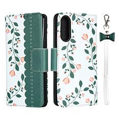 Handytasche Stand Schutzhülle Flip Leder Hülle L02 für Sony Xperia 10 II Grün