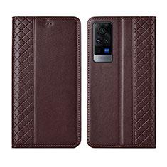 Handytasche Stand Schutzhülle Flip Leder Hülle L02 für Vivo X60 5G Braun