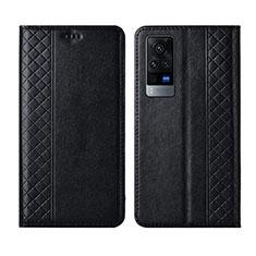 Handytasche Stand Schutzhülle Flip Leder Hülle L02 für Vivo X60 Pro 5G Schwarz