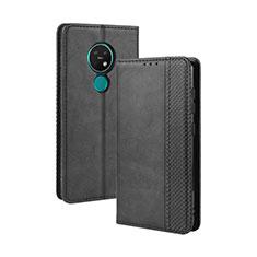 Handytasche Stand Schutzhülle Flip Leder Hülle L03 für Nokia 7.2 Schwarz