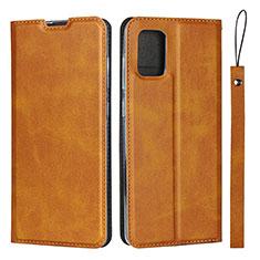 Handytasche Stand Schutzhülle Flip Leder Hülle L03 für Samsung Galaxy A51 4G Hellbraun