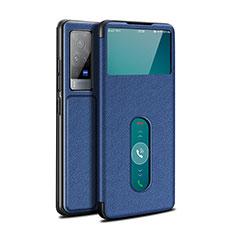 Handytasche Stand Schutzhülle Flip Leder Hülle L03 für Vivo X60 Pro 5G Blau