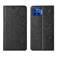 Handytasche Stand Schutzhülle Flip Leder Hülle L04 für Motorola Moto G 5G Plus Schwarz
