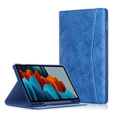 Handytasche Stand Schutzhülle Flip Leder Hülle L04 für Samsung Galaxy Tab S7 Plus 5G 12.4 SM-T976 Blau