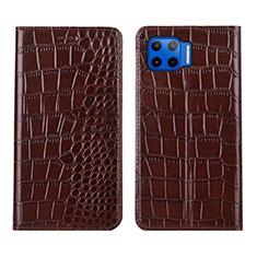 Handytasche Stand Schutzhülle Flip Leder Hülle L05 für Motorola Moto G 5G Plus Braun