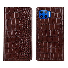 Handytasche Stand Schutzhülle Flip Leder Hülle L05 für Motorola Moto One 5G Braun