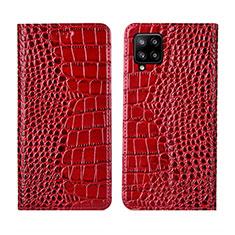 Handytasche Stand Schutzhülle Flip Leder Hülle L05 für Samsung Galaxy A42 5G Rot