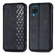 Handytasche Stand Schutzhülle Flip Leder Hülle L06 für Samsung Galaxy A12 Schwarz
