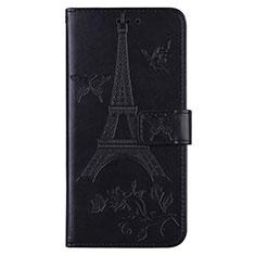 Handytasche Stand Schutzhülle Flip Leder Hülle L06 für Sony Xperia 8 Schwarz