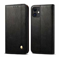 Handytasche Stand Schutzhülle Flip Leder Hülle L07 für Apple iPhone 12 Mini Schwarz