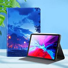 Handytasche Stand Schutzhülle Flip Leder Hülle L09 für Apple iPad Pro 12.9 (2020) Blau