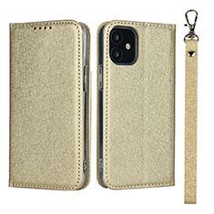 Handytasche Stand Schutzhülle Flip Leder Hülle L09 für Apple iPhone 12 Mini Gold
