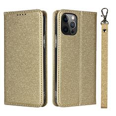 Handytasche Stand Schutzhülle Flip Leder Hülle L09 für Apple iPhone 12 Pro Gold