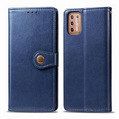 Handytasche Stand Schutzhülle Flip Leder Hülle L09 für Motorola Moto G9 Plus Blau