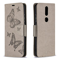 Handytasche Stand Schutzhülle Flip Leder Hülle L10 für Nokia 2.4 Grau