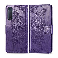 Handytasche Stand Schutzhülle Flip Leder Hülle L10 für Sony Xperia 5 II Violett