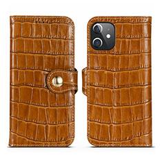 Handytasche Stand Schutzhülle Flip Leder Hülle N02 für Apple iPhone 12 Braun