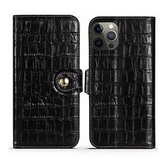 Handytasche Stand Schutzhülle Flip Leder Hülle N02 für Apple iPhone 12 Pro Schwarz