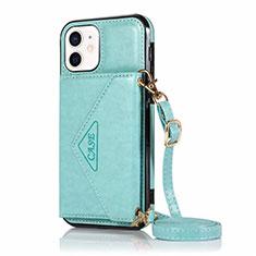 Handytasche Stand Schutzhülle Flip Leder Hülle N03 für Apple iPhone 12 Mini Cyan