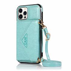 Handytasche Stand Schutzhülle Flip Leder Hülle N03 für Apple iPhone 12 Pro Cyan