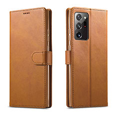 Handytasche Stand Schutzhülle Flip Leder Hülle N08 für Samsung Galaxy Note 20 Ultra 5G Hellbraun