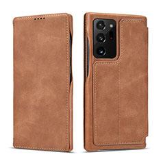 Handytasche Stand Schutzhülle Flip Leder Hülle N09 für Samsung Galaxy Note 20 Ultra 5G Hellbraun