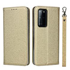 Handytasche Stand Schutzhülle Flip Leder Hülle N12 für Huawei P40 Pro Gold